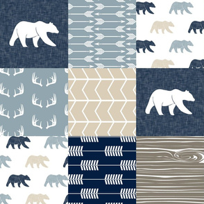 Rustic Woods Patchwork Wholecloth with linen bears