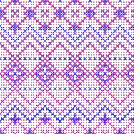 Cross Stitched in Pink fabric by jjtrends on Spoonflower - custom fabric