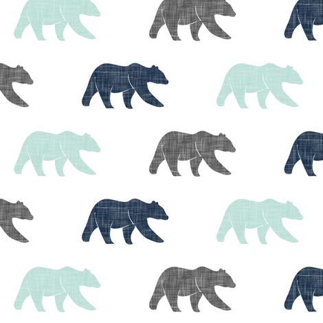 multi bear (small scale) || happy camper coordinate v6 fabric by littlearrowdesign on Spoonflower - custom fabric