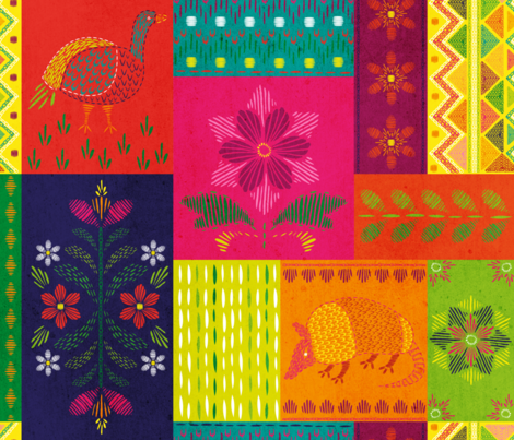 Mexican Embroidery Sampler fabric by pinky_wittingslow on Spoonflower - custom fabric
