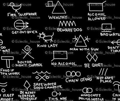 Hobo Signs on Black