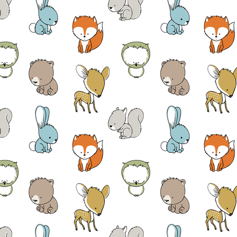 woodland babies (small scale)  fabric by littlearrowdesign on Spoonflower - custom fabric