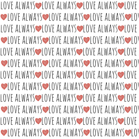 Love always red heart Small fabric by karliqdesigns on Spoonflower - custom fabric