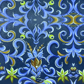 Traditional Dutch daisy tulips on blue