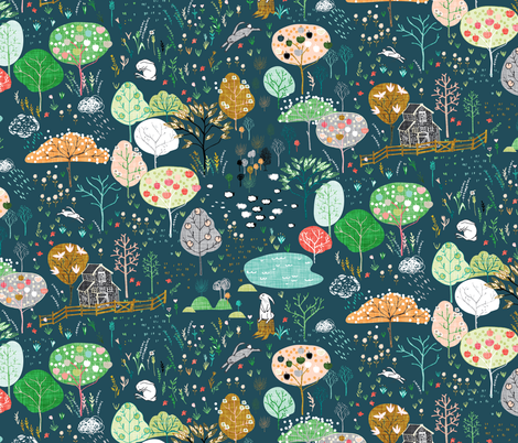 Ambrosia Orchard (midnight linen) fabric by nouveau_bohemian on Spoonflower - custom fabric