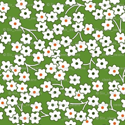 Flour sack: white poppies on green
