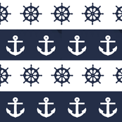 Ship Wheels and Anchors // Navy & White
