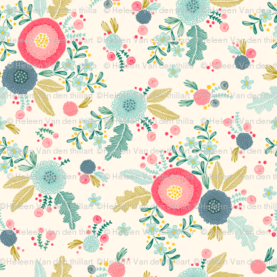 Embroidered flower pattern on creme