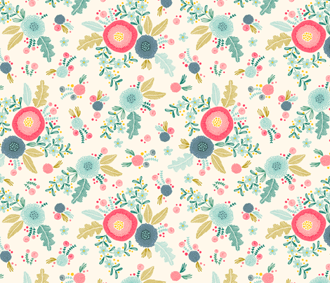 Embroidered flower pattern on creme fabric by heleen_vd_thillart on Spoonflower - custom fabric