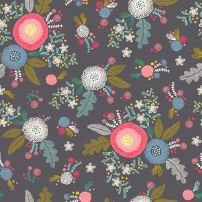 Embroidered flower pattern on gray