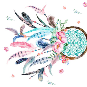 Aqua & Pink Dream Catcher/ SPACE FOR EMBROIDERY / 90 degrees