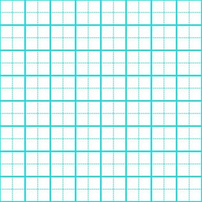 cutting mat teal on white, 1-inch grid