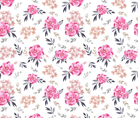 Vintage Floral/ Pink Floral/ Hand Painted floral Fabric fabric by bianca_pozzi on Spoonflower - custom fabric