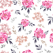 Vintage Floral/ Pink Floral/ Hand Painted floral Fabric