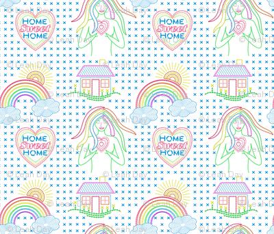 Home Sweet Home Needlepoint Rainbow Goddess