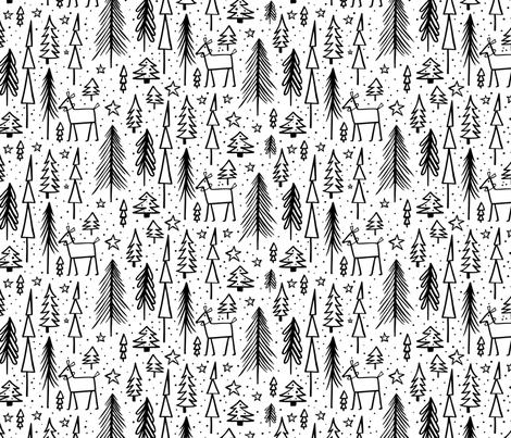 Winter Wonderland - White & Black fabric by heatherdutton on Spoonflower - custom fabric