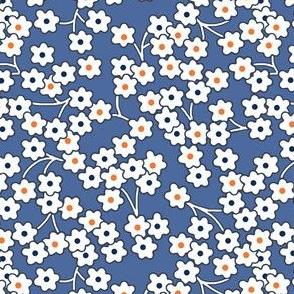 Flour sack: white poppies on blue