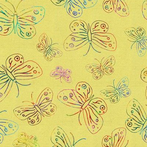 BUTTERFLIES EMBROIDERY ON LINEN Yellow