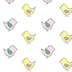 little birds // pink & yellow