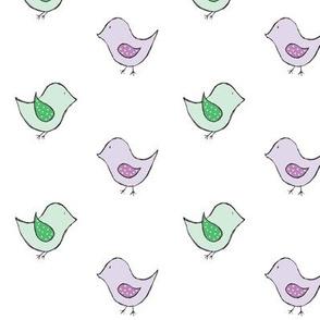 little birds // mint & purple