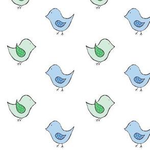 little birds // mint & blue