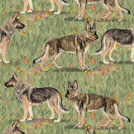Two German Shepherd Dogs in Wildflower field fabric by eclectic_house on Spoonflower - custom fabric