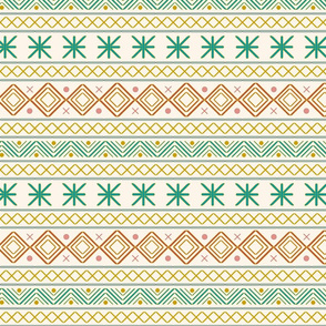Geometric pattern // green orange pink yellow home decoration