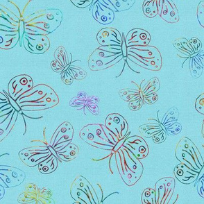 BUTTERFLIES_EMBROIDERY_ON_LINEN_aqua_blue_by_PAYSMAGE