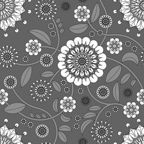 geometric flowers, grayscale