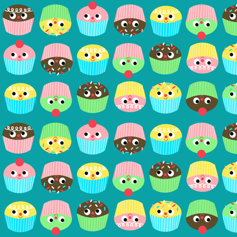 cupcakes on teal fabric by heidikenney on Spoonflower - custom fabric