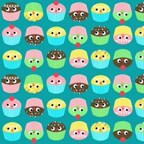 cupcakes on teal