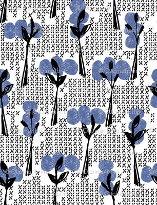 Retro blue trees