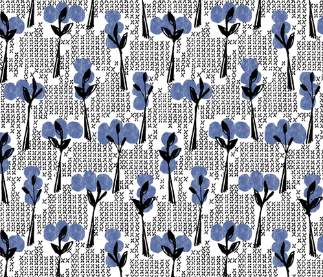 Retro blue trees  fabric by ottomanbrim on Spoonflower - custom fabric