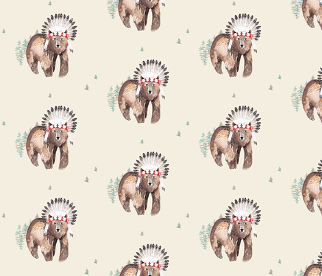 "6"" Baby Bear - Tan fabric by shopcabin on Spoonflower - custom fabric"