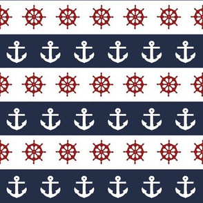 Ship Wheels & Anchors  // Nautical Red, Navy, & White