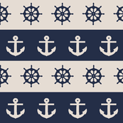 Ship Wheels & Anchors  // Navy & Merino