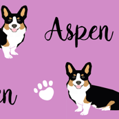 tricolored corgi custom name fabric