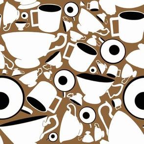 Teacups, brown and black