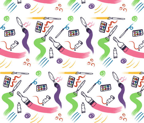 The Joy of Paint fabric by lyddiedoodles on Spoonflower - custom fabric