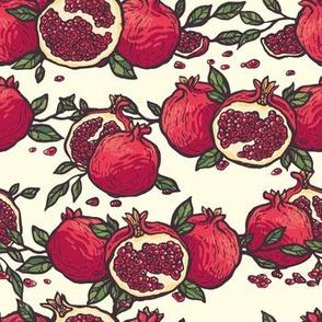Decorative Pomegranates On White