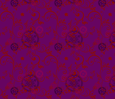 Red Vine On Purple Steampunk fabric by rhornud on Spoonflower - custom fabric