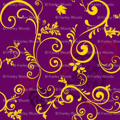 Gold Vine On Purple Steampunk