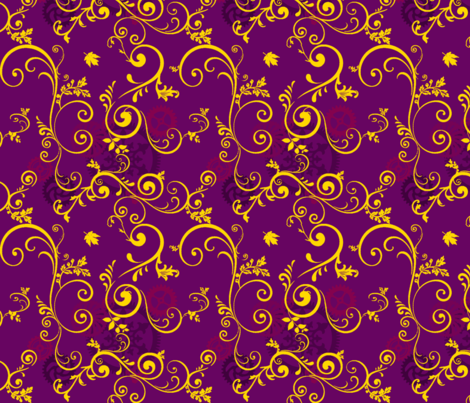 Gold Vine On Purple Steampunk fabric by rhornud on Spoonflower - custom fabric
