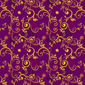 Gold Vine On Purple Steampunk