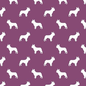boston terrier silhouette fabric dog silhouette design - amethyst
