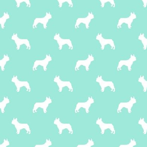 boston terrier silhouette fabric dog silhouette design - aqua
