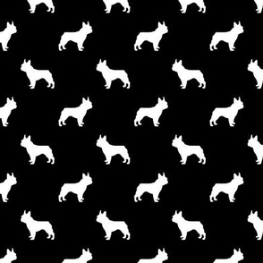 boston terrier silhouette fabric dog silhouette design - black