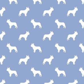 boston terrier silhouette fabric dog silhouette design - cerulean