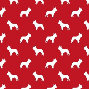 boston terrier silhouette fabric dog silhouette design - fire red