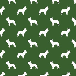 boston terrier silhouette fabric dog silhouette design - garden green